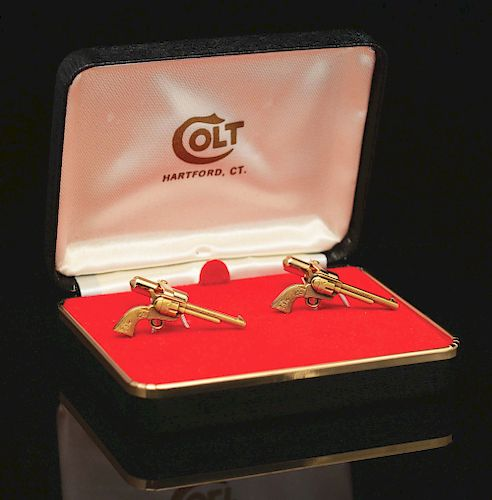 Colt Single Action Army .45 Gold Cuff Links in Box.