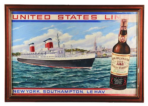 An Unusual Artist's Advertising Proof for Jameson Whiskey Featuring the S.S. United States Sailing from New York to Cork to Le Havre.