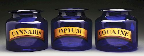 Set of 3: Rich Indigo Glass Apothecary Jars.
