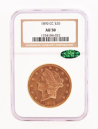 1890-CC $20 Carson City Liberty Double Eagle Coin.