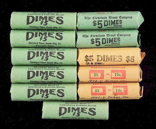 Lot of 11: BU Dime Rolls.