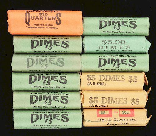 Lot of 12: BU Dime Rolls & One Quarter Roll.