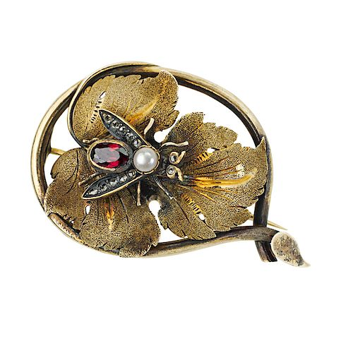 VICTORIAN GEM-SET YELLOW GOLD INSECT BROOCH