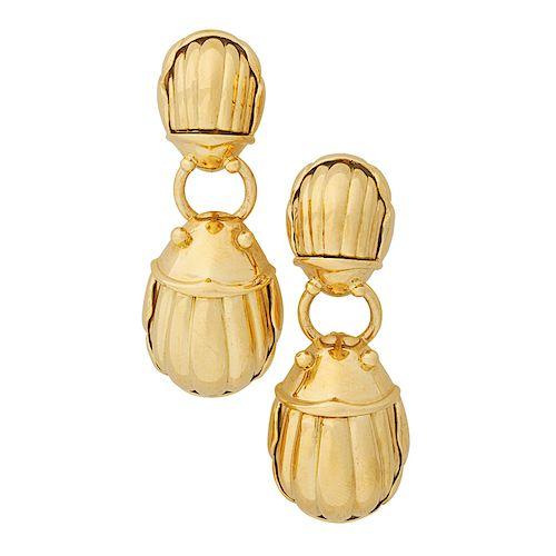 TIFFANY & CO. YELLOW GOLD SCARAB DROP EARRINGS