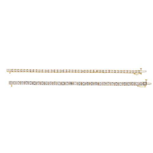 DIAMOND & YELLOW GOLD LINE BRACELETS