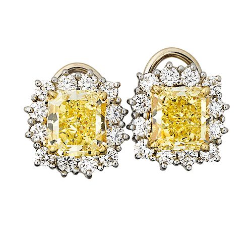 3.99 CTS. TW. THROUGHOUT FANCY YELLOW DIAMOND EARRINGS