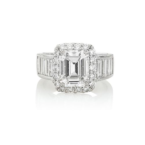 3.24 CTS. EMERALD-CUT DIAMOND ENGAGEMENT RING