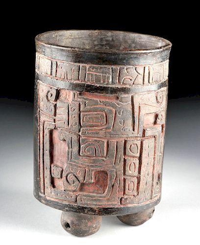 Fine Maya Ulua Valley Blackware Cylinder w/ Rattle Feet