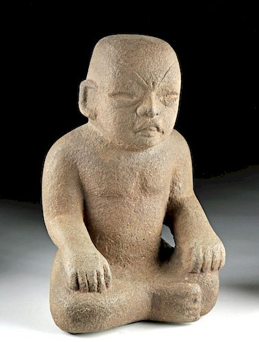 Important Olmec Stone Seated Figure of a Child