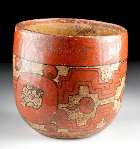 Stunning Maya Peten Polychrome Vase