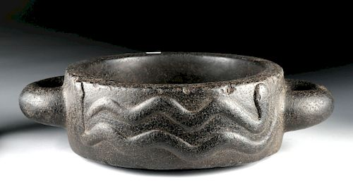 Inca Basalt Handled Vessel with Serpents