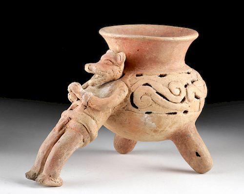 Amusing Rare Aztec Pottery Tripod Incensario