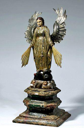18th C. Mexican Wood Santo - Garden of Eden Angel