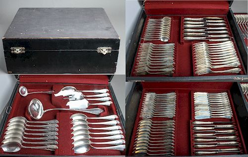 "Wilkens Silver ""Louis XIV"" Flatware Svc for 12"