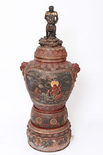 Japanese Meiji Period Polychrome Monumental Urn