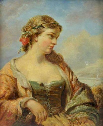 "O'NEIL, Henry. Oil on Canvas ""Fishergirl""."