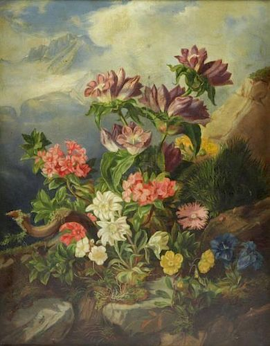 19th C. Oil on Canvas. Flowers and Bee in