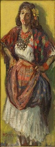 SOYER, Moses. Oil on Canvas of a Gypsy Smoking a
