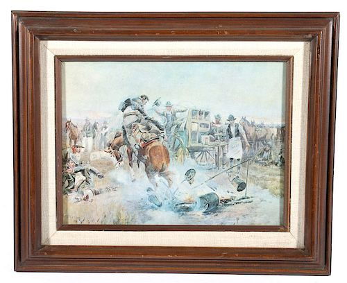 Bronc For Breakfast print by Charlie M. Russell