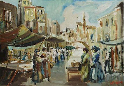 CIAPPA, V. Oil on Canvas Italian Market Scene.