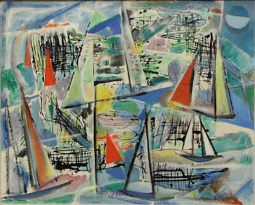 """STERNGOLD. Oil on Canvas of Boats.""""Morning""""."""