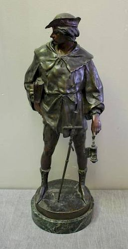 Illegiably Signed Bronze Watchman on Marble Base.