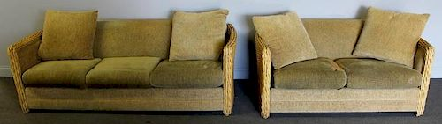 Matching Wicker Side Loveseat and Sofa.
