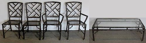 Vintage Iron Faux Bamboo Set of Table and Chairs.