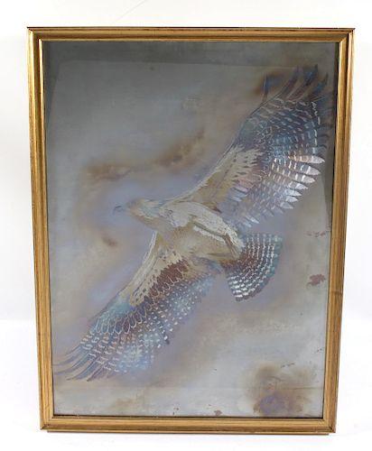 Signed J Dolan Metal Etched Hawk Artwork