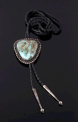 Navajo Turquoise Mountain Bolo Tie