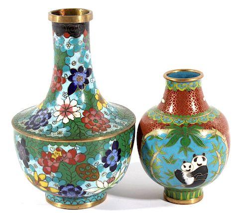 Pair of Chinese Cloisonne Bronze Enamel Vases