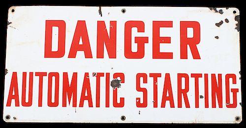 Porcelain Enamel Danger Automatic Starting Sign