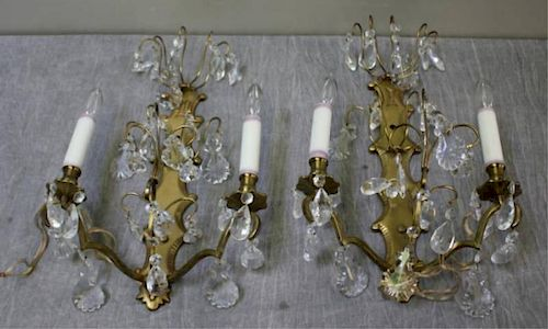 Pair of Antique Brass 2 Arm Sconces.