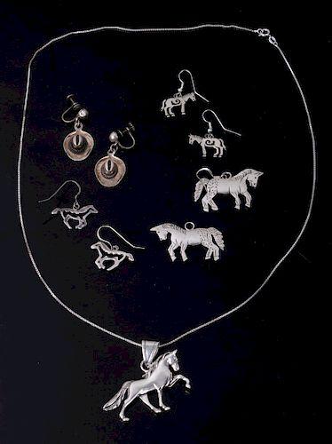 Sterling Silver Western Earrings & Necklace