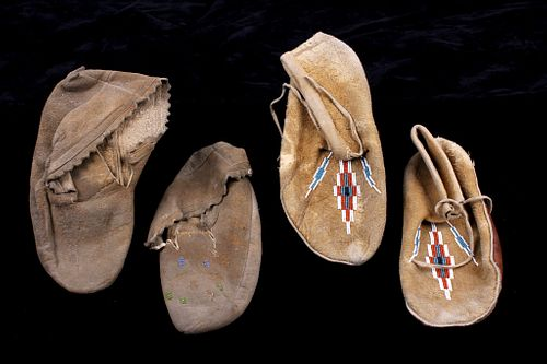 Two Pairs of Navajo Native American Moccasins