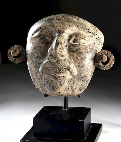 Maya Greenstone Mask with Ear Ornaments