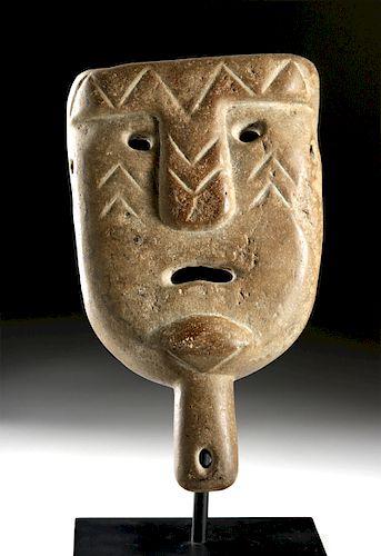 Mapuche Stone Clava Scepter w/ Mask Finial