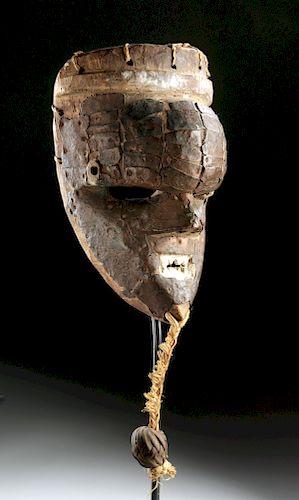 Early 20th C. Salampasu Wood, Copper & Rattan Mask