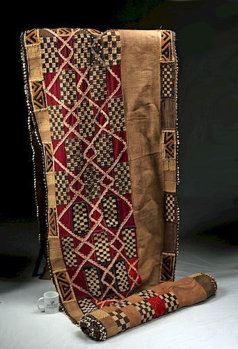 African Kuba Raffia & Cowrie Shell Dance Skirt - 1950s