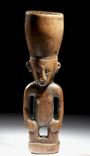Early 20th C. Papua New Guinea Wood Betel Nut Mortar
