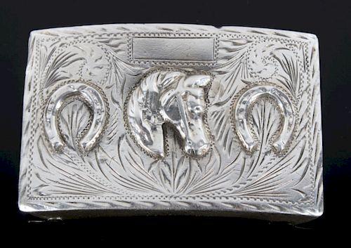 Early Sterling Silver Ornate Horse Belt Buckle