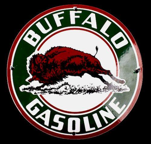 Buffalo Gasoline Porcelain Gas Station Pump Sign