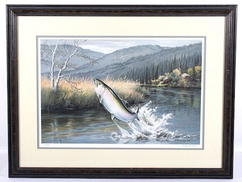 Limited Edition Maynard Reece Titled Leaping Trout