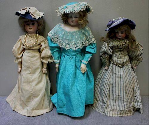 3 Antique / Vintage Bisque Dolls.