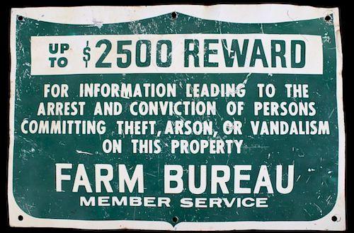 Farm Bureau Information Reward Metal Sign