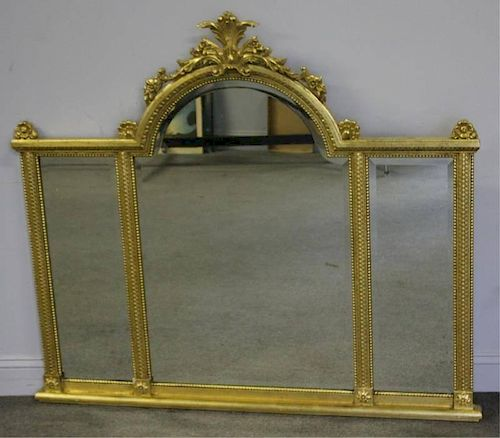 Giltwood 3 Panel Beveled Over Mantle Mirror.