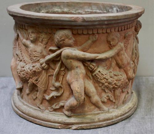 Antique Terracotta Planter Decorated with Putti.