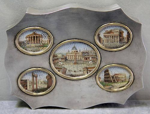 STERLING. G. Petochi Silver Box with Micro Mosaic