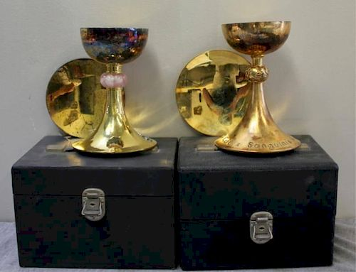STERLING. Gilt Silver Chalices with Patens.