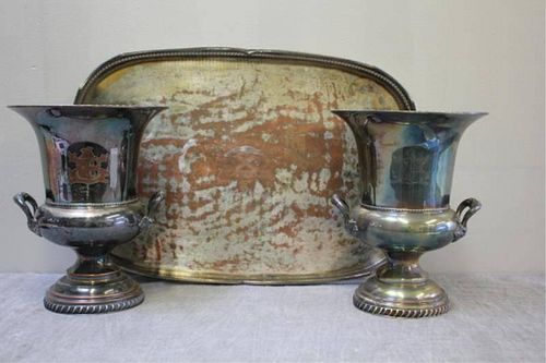 SILVERPLATE. Vintage Tray and Pair of Ice Buckets.